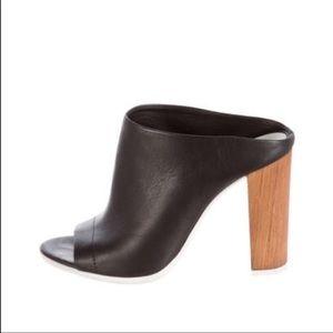 Vince Allison black open toe mule wooden heel